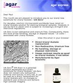 Agar Express May 2019 - Introducing our Uranium free & non-toxic Uranyl Acetate replacement... UA-Zero!