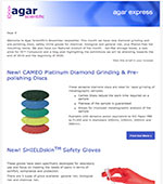 Agar Express November 2019 - New Diamond Grinding Discs, Lab Safety Gloves, Phenol-free Resins & more...
