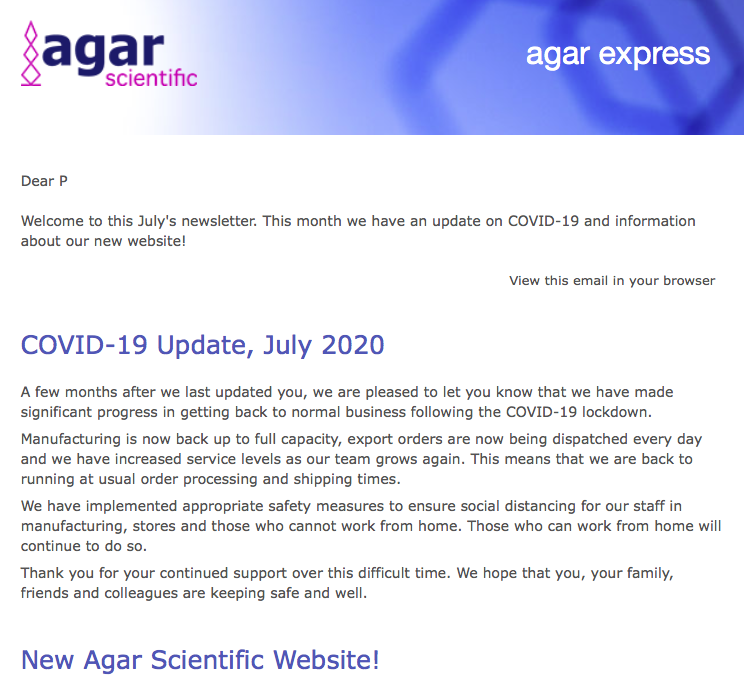 Agar Express July 2020 - a COVID19 update & our new website!