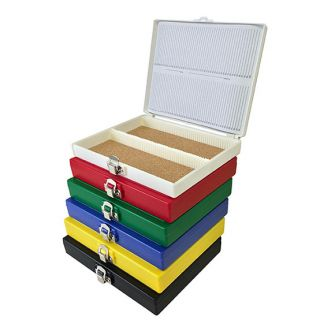 Plastic Slide Storage Box for 100 slides, 76mm x 26mm (3in x 1in) slides.