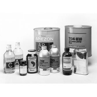 Diffusion pump fluids including Diffoil-20, Apiezon, Edwards, Silicone oils and Santovac5 oils.