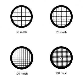 Square mesh TEM grids - Gold. 50, 75, 100 & 150 mesh