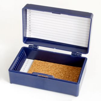 Micro Slide Storage Box, 12 Slide Capacity, Blue