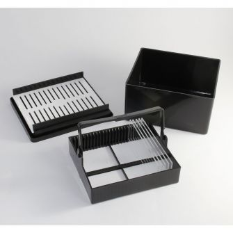 Plastic staining rack and trough