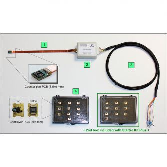 A self-sensing starter kit (AGF1859) consist of 1) a counter part PCB connected to flat flex cable, 2) a pre-amplifier, 3) an output cable and a cantilever box with 10 cantilevers. Starter kit plus includes a second cantilever box