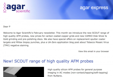 Agar Express February 2020 - New high quality AFM probes, reduced prices for carbon coated copper grids, special offers & more...