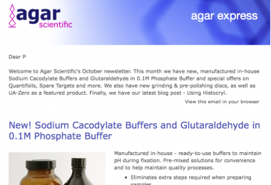 Agar Express October 2020 -  new buffers, special offers on Quantifoils, targets and more!