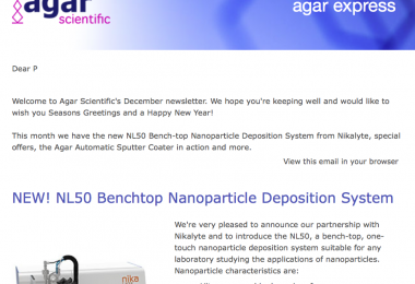 Agar Express December 2020 - a new Nanoparticle Deposition System, a Christmas update & more!