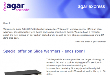 Agar Express September 2020 -  new offers on serialised TEM grid boxes, new diamond abrasive suspensions & more!
