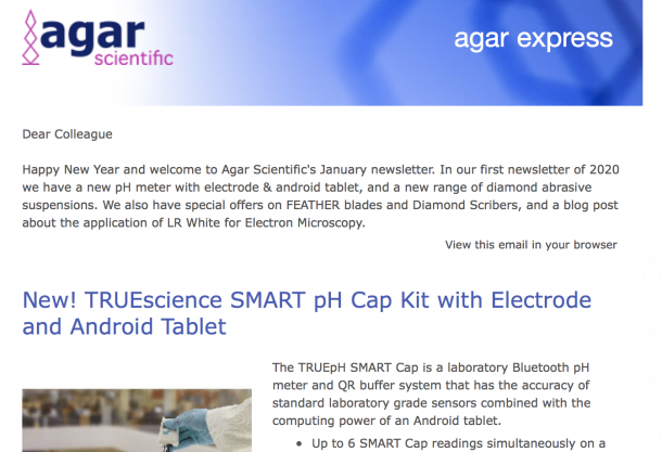 Agar Express January 2020 - New pH Meter with Android Tablet, Diamond Suspensions, Special Offers & more...
