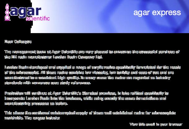 Agar Express June 2019 - Acquisition of London Resin & an MMC2019 Update