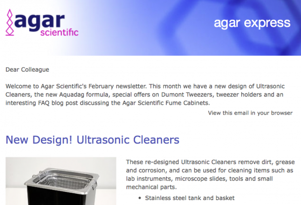 Agar Express February 2019 - New design Ultrasonic Cleaners, the new Aquadag formula & more...