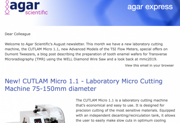 Agar Express August 2019 - Summer offers on Dumont Tweezers, new TSI Advanced Model Flow Meters, a look back at mmc & more…