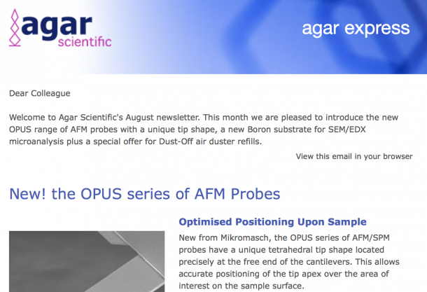 Agar Express August 2018 - new AFM probes with a unique tip shape, Boron substrate for SEM/EDX & more...