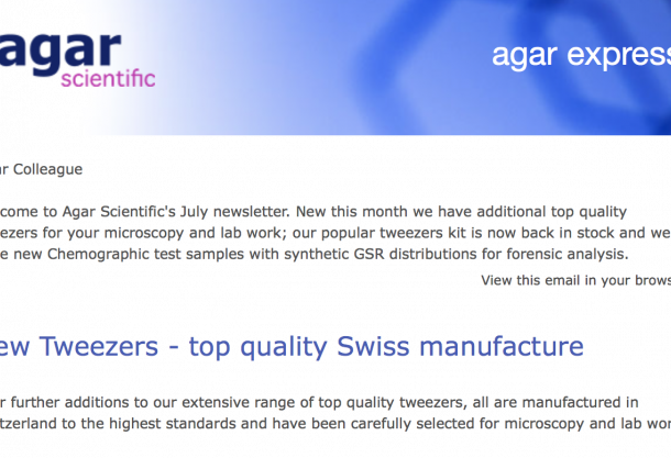 Agar Express July 2018 - new top quality tweezers for microscopy and lab, Chemographic test samples for forensic analysis & more…