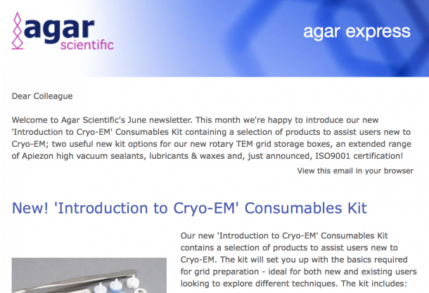 Agar Express June 2018 - our new 'Introduction to Cryo-EM' Consumables Kit, Apiezon high vacuum sealants & lubricants, kit options for grid storage boxes & more…