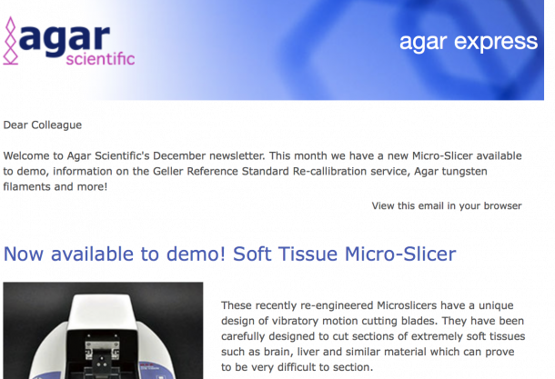 Agar Express December 2018 - A new Micro-Slicer available to demo, Agar Filaments & more...