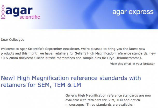 Agar Express September 2018 - new retainers for High Magnification EM reference standards, 10 & 20nm Silicon Nitride membranes & more…