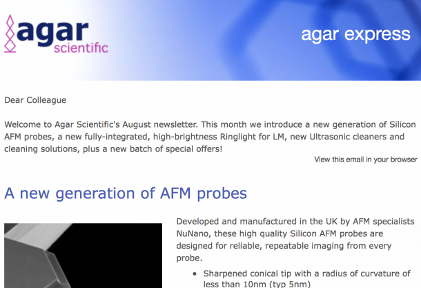 Agar Express August 2017 - new Silicon AFM probes, high-brightness Ringlight for LM, Ultrasonic cleaners & more