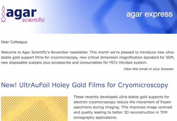Agar Express November 2017 - UltrAuFoil Holey Gold Films for Cryomicroscopy, Critical Dimension Magnification Standards for SEM & more