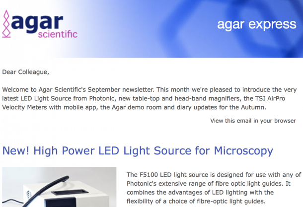 Agar Express September 2017 - new LED Light Source, magnifiers, TSI AirPro Velocity Meters with mobile app, the Agar demo room & more