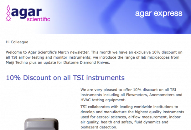 Agar Express March 2017 - 10% discount for all TSI instruments, a new range of light microscopes & more