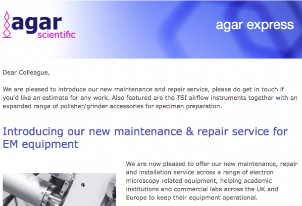 Agar Express October 2016 - our new maintenance & repair service, TSI airflow instruments, specimen preparation accessories and more...