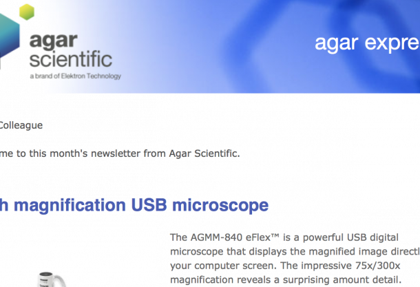 Agar Express - new excellent value high magnification USB microscope, 10% discount of the complete Dust-Off range and more...