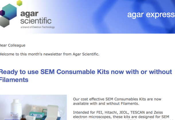 Agar Express July 2015 - SEM Consumables Kit, new Tissue Processing System and more...