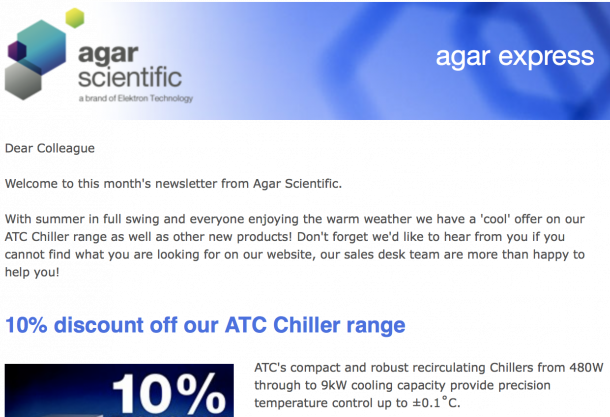 Agar Express August 2015 - 10% discount on all ATC Chillers and more...