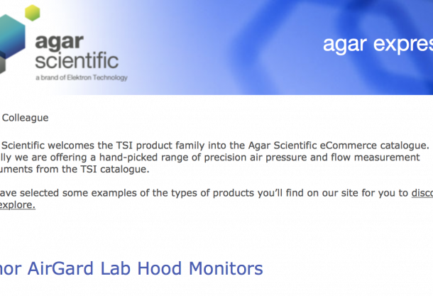 Agar Express September 2015 - Agar Scientific welcomes the TSI product family