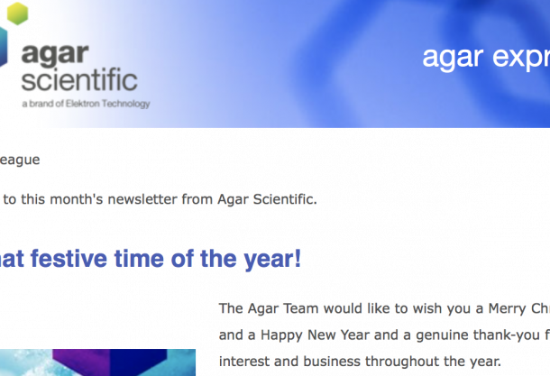 Agar Express December 2015 - new self-sensing Cantilever probes, new tweezers and more...
