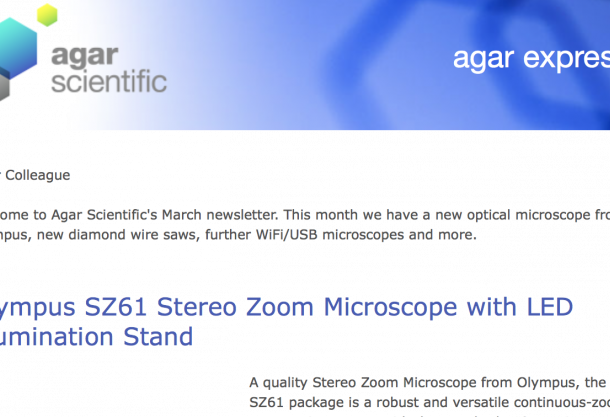 Agar Express March 2016 - new optical microscope from Olympus, new diamond wire saws, further WiFi/USB microscopes and more...