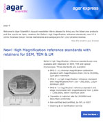 Agar Express September 2018 - new retainers for High Mag EM reference standards, 10 & 20nm Silicon Nitride membranes & more…